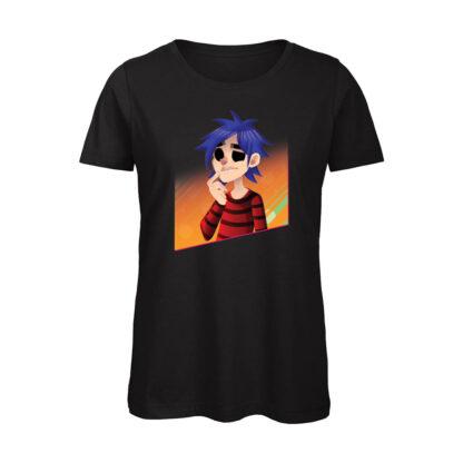T-shirt Donna Nera gorillaz 2D