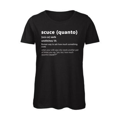 SCUCE T-shirt donna Nera Dizionario Romano